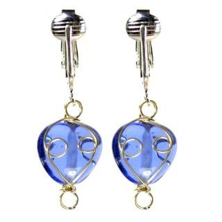Designer Sapphire Blue Look Glass Valentines Clip Earrings with Handcrafted Wire Wrap Beads   Heart Shaped Party Jewelry Ladies   Teens Jewelry