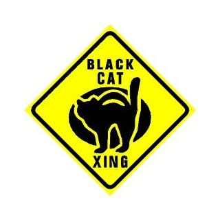 BLACK CAT CROSSING animal pet scary sign   Yard Signs