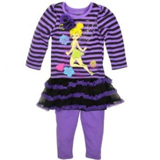 Disney Fairies Toddler Girls Tinkerbell 2 piece T shirt & Skeggings Set 2T Purple Clothing
