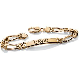 Neno Buscotti 18k Yellow Gold over Sterling Silver Men's 8.5 inch ID Bracelet Neno Buscotti Jewelry