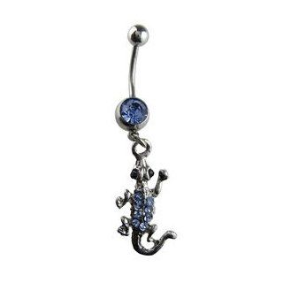 Blue Jewel Lizard Belly Button Ring   Blue Gem Sterling Silver Lizard Navel Ring Toys & Games
