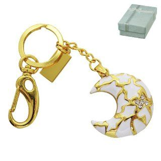 White and Gold Crystal Moon Jewelry Keychain 8GB USB Flash Drive   in Gift box   with GadgetMe Brands TM Stylus Pen and comes in GadgetMe retail packaging Computers & Accessories