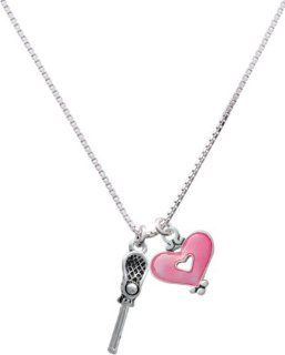 3 D Lacrosse Stick and Ball and Trasnlucent Pink Heart Charm Necklace [Jewelry] Pendant Necklaces Jewelry
