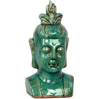 Urban Trends Collection Antique Blue Ceramic Buddha Head Urban Trends Collection Vases