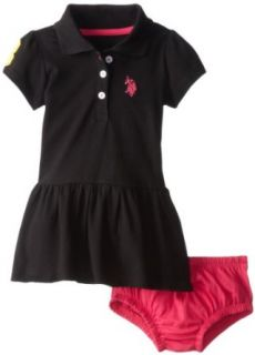 U.S. Polo Assn. Baby Girls Newborn Solid Baby Pique Scalloped Hem Polo Dress Clothing