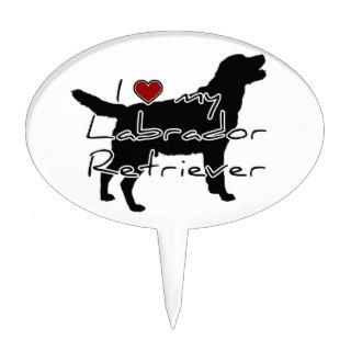 "I ""heart"" my Labrador Retriever"" words with graphi Cake Pick"