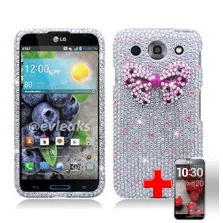 LG E980 Optimus G Pro (AT&T) 2 Piece Snap On 3D Rhinestone/Diamond/Bling Hard Shell Case Cover, Pink Bow Tie Silver Cover + LCD Clear Screen Saver Protector Cell Phones & Accessories