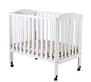 Dream On Me 2 in 1 Portable Folding Stationary Side Crib, White  Mini Crib  Baby