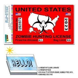 Zombie Hunting License Permit Red United States   Biohazard Response Team SLAP STICKZ(TM) Automotive Car Window Locker Bumper Sticker Automotive