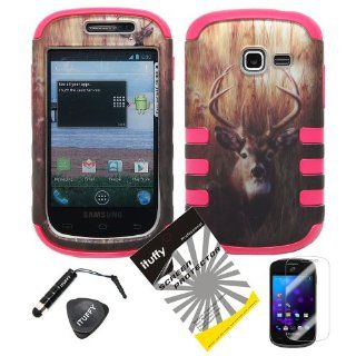 4 items Combo ITUFFY LCD Screen Protector Film + Mini Stylus Pen + Case Opener + Outdoor Wild Deer Grass Camouflage Design Rubberized Hard Plastic + PINK Soft Rubber TPU Skin Dual Layer Tough Hybrid Case for Samsung Galaxy Centura S738C / Samsung Galaxy D