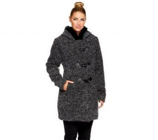 Dennis Basso Tweed Toggle Front Faux Fur Wool Jacket w/ Faux Fur Trim —