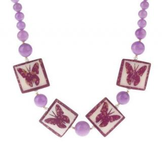 Lee Sands Butterfly Tile & Cultured Pearl Necklace —