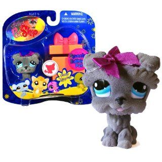 "Hasbro Year 2009 Littlest Pet Shop Portable Pets ""Special Edition Pet   Happiest"" Series Collectible Bobble Head Pet Figure Set #1006   Gray Schnauzer Puppy Dog with Gift Box (92725) Toys & Games"