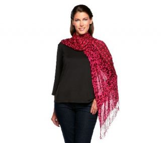 Isaac Mizrahi Live Mixed Print Scarf with Fringe —