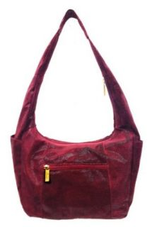 LIGHTWEIGHT BACK FRIENDLY Lambskin Leather Hobo Handbag Purse in Wine Caviar Pattern Shoulder Handbags Clothing