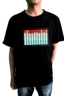 Simplicity Flashing Sound Activated Light Up Pattern T Shirt   Black Clothing