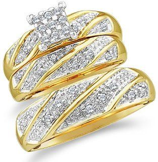 10k Yellow and White 2 Two Tone Gold Mens and Ladies Couple His & Hers Trio 3 Three Ring Bridal Matching Engagement Wedding Ring Band Set   Round Diamonds   Princess Shape Center Setting (1/4 cttw) Jewelry