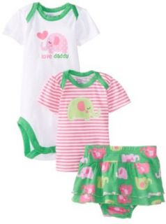 Gerber Baby Girls Newborn 3 Piece Girls Set Shirt Short and Bodysuit   Flower Clothing