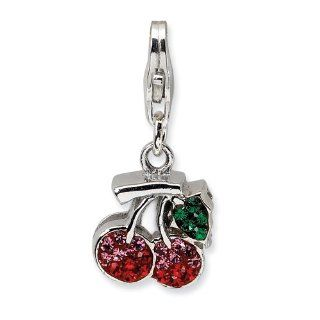 Sterling Silver Swarovski Element Cherries W/lobster Clasp Charm, Best Quality Free Gift Box Satisfaction Guaranteed Jewelry