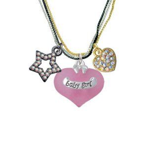Baby Girl Pink Heart with Baby Feet RockStar Tri Color Necklace Pendant Necklaces Jewelry
