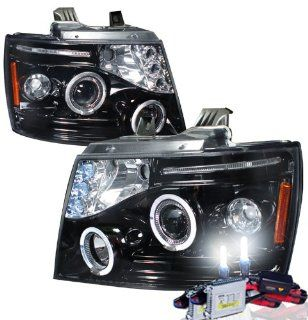 High Performance Xenon HID Chevy Avalanche Projector Headlights with Premium Ballast (Glossy Black Housing w/ Smoke Lens & 6000K HID Lighting Output) Automotive