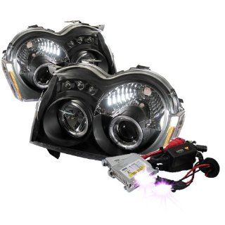High Performance Xenon HID Jeep Grand Cherokee Halo LED ( Replaceable LEDs ) Projector Headlights with Premium Ballast   Black with 10000K Deep Blue HID Automotive