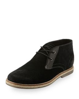 Cade Perforated Suede Chukka Boot, Black