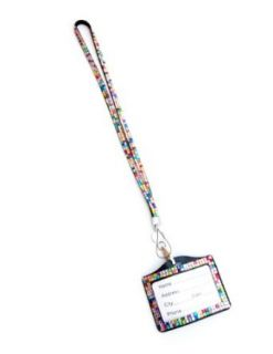 Rhinestone Lanyard Horizontal Lined ID badge holder and key chain by Sizzle City (Rainbow) Cell Phones & Accessories
