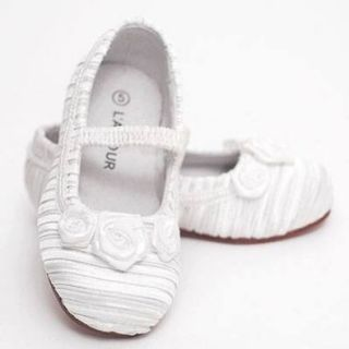 L'Amour White Satin Dress Shoes Toddler Girl Size 5 Flats Shoes Shoes