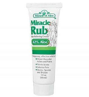 Miracle of Aloe Miracle Rub Pain Relieving Cream 1 Oz Say Goodbye to Tired, Aching Muscles and Joints Due to Arthritis, Rheumatism and Bursitis. Penetrates Deep and Provides Soothing Pain Relief Quick Fast Acting Ingredients Provide Relief of Minor Muscul