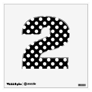 Black & White Polka Dot Number 2 Wall Decal