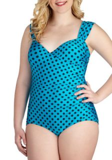 Tatyana/Bettie Page Composed by the Pool One Piece Swimsuit in Aqua   Plus Size  Mod Retro Vintage Bathing Suits