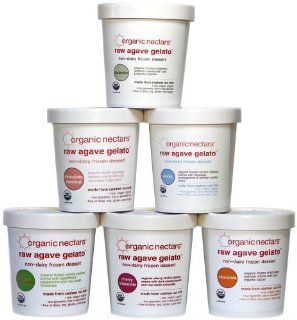 Organic Nectars Raw Agave Gelato Variety Pack, 16 Ounce Units (Pack of 8)  Grocery & Gourmet Food