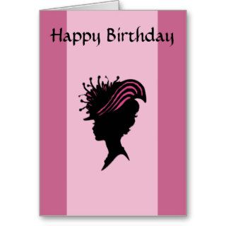Victorian Lady Black Silhouette Fancy Hat Birthday Greeting Cards