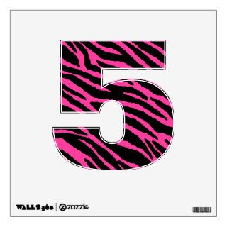 Pink Zebra Number 5 Wall Decal