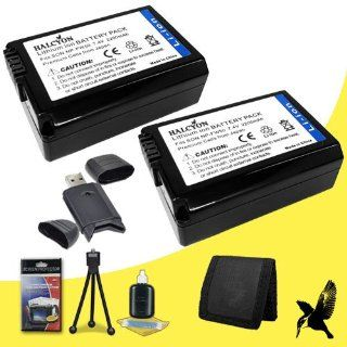 Two Halcyon 2200 mAH Lithium Ion Replacement NP FW50 Battery + Memory Card Wallet + SDHC Card USB Reader + Deluxe Starter Kit for Sony Alpha SLT A3000 Mirrorless Digital Camera and Sony NP FW50 Electronics