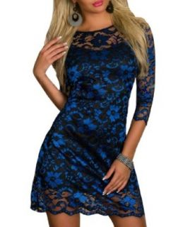 Blooms Outlet Womens Elegant Long Sleeve Floral Lace Fitted Cocktail Party Dress (M, Blue)