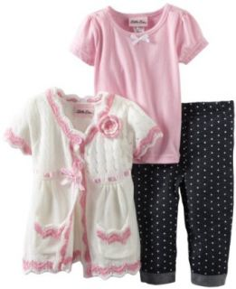 Little Lass Girls 2 6X 3 Piece Sweater Set with Dotted Denim Capri and Bow, White, 4T Clothing