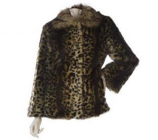 LOGO by Lori Goldstein Leopard Print Faux Fur Coat —