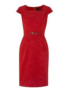 Adrianna Papell Floral jacquard dress Red