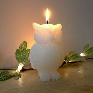 white owl candle by ella james