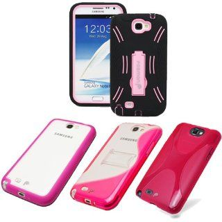 Fosmon's Full Package Variety Case Bundle (Pink) for Samsung Galaxy Note 2 / N7100   4x Fosmon Signature Series Protector Guard Bumper Skin Cases   Ultra Slim, Heavy Duty, Gripped, Designer, Hybrid with Stand, Slim Fit, Drop Proof Cell Phones & Ac