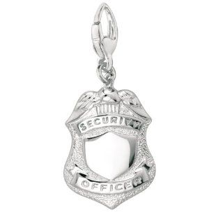 Sterling Silver POLICE BADGE Charm Clasp Style Charms Jewelry