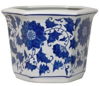 Oriental Furniture Good Best Beautiful Gifts for Mother, 10 Inch Fine Oriental Porcelain Planter Pot, Ming Blue and White Floral   Good Gifts For Moms For Christmas