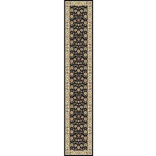 Lyndhurst Collection Traditional Black/ivory Oriental Runner Rug (23 X 6)
