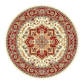 Lyndhurst Collection Ivory/ Red Area Rug (53 Round)