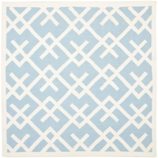 Safavieh Hand woven Moroccan Dhurrie Light Blue/ Ivory Wool Rug (6 Square)