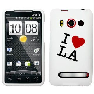 HTC EVO 4G LTE SNAP ON COVER CASE I LOVE LA RUBBERIZED Cell Phones & Accessories