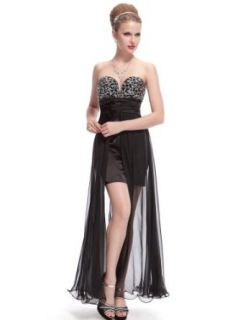 Ever Pretty Sexy Strapless Sequined Bust Ruched Waist Slitted Cocktail Dress 09984