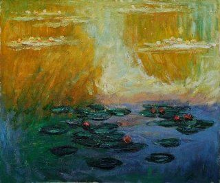 "Hand Painted Canvas Art Monet Paintings Water Lilies, 1908   Classic 20"" X 24""   Oil Paintings"